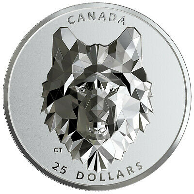 1 Ounce Silver Proof Multifaceted Animal Head: Wolf 25 $ Canada 2019 Kanada