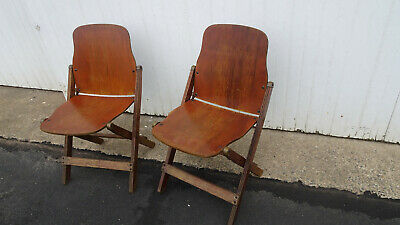American Seating Company Grand Rapids Wooden Folding Chairs Mid Century Modern 2
