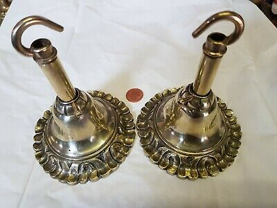 2 Vintage CEILING ROSE 106mm chandelier hook Cast brass OLD Antique 1920s French