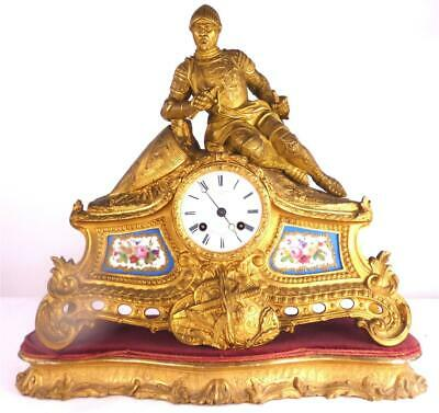 N961 Antique French Miroy Freres Gilt Bronze Ormolu Clock Sevres Style Porcelain