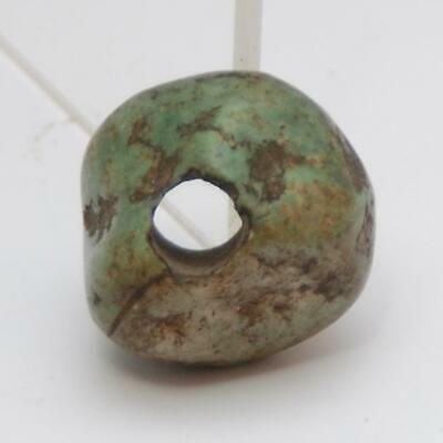 PRE COLUMBIAN Green Stone Jade_Spindle Whorl Bead_15.7 x 25.2 x 24.4mm