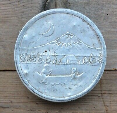 Vintage Aluminum Collapsable Cup Mountain Scene With Canoe