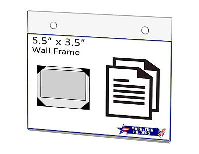 "Sign Holder Ad Frame 5.5""W x 3.5""H Horizontal Wall Mount with Mounting Holes"