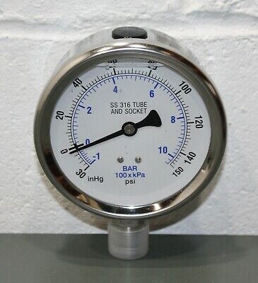 Hg Vac to 30 psi PIC GAUGES 301L-402CC Compound Gauge,30 in