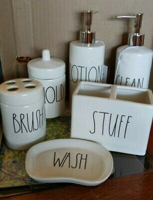 New! Rae Dunn Bathroom Set - CLEAN, HOLD, WASH, LOTION, STUFF, BRUSH