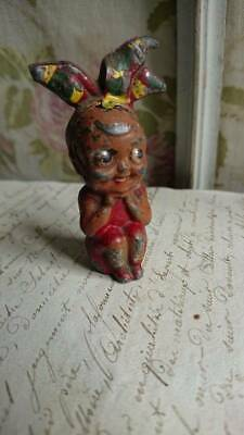 CHARMING ANTIQUE FRENCH COLD PAINTED SPELTER GOOGLIE EYED GIRL FIGURE c1910