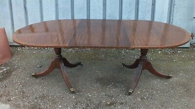 Georgian revival twin pedestal mahogany dining table circa 1900
