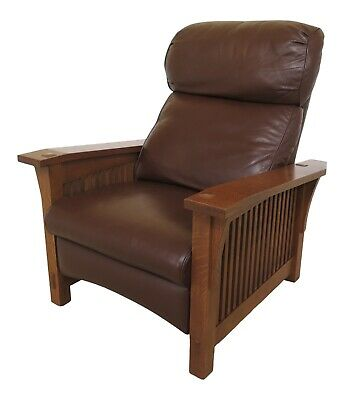 47812EC: STICKLEY Mission Oak Reclining Leather Morris Chair