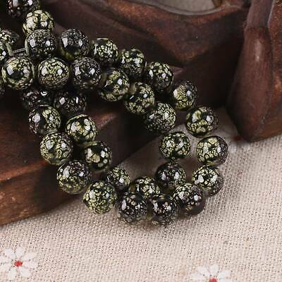 30pcs 8mm Black & Yellow Spots Porcelain Imitated Coated Round Glass Loose Beads