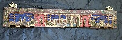 """Antique Chinese Asian Carved Gilt Rare Polychrome Wedding bed Wood Panel 32"""" x5"""""""