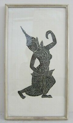 VTG 1960s/70s Thai Cambodian Apsara Hindu Temple Wall Stone Rubbing Framed 14x26