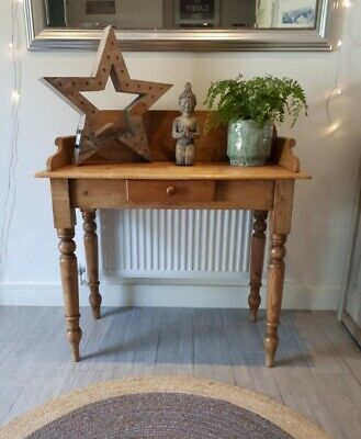 Vintage Victorian Pine Hall Console, Washstand Table with Drawer