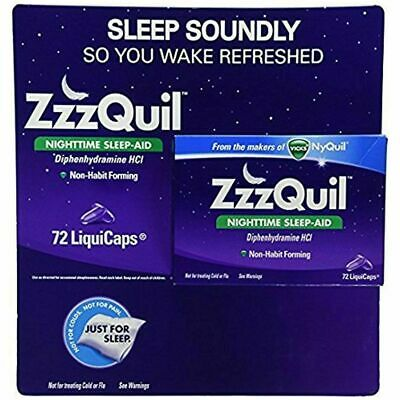 ZzzQuil Nighttime Sleep Aid, 72  LiquiCaps From the Makers of Vicks NyQuil NEW