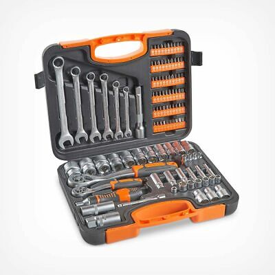 TOP QUALITY 104 Piece Socket Set Wrench Kit Ratchet Driver With Case Tools DIY