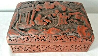 Antique CINNABAR Red Chinese Qing Dynasty Hand Carved Box Lacquer Brass 5.5 x 4