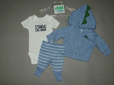 Baby boy clothes, Preemie, Carter's Child of Mine 3 piece hooded set