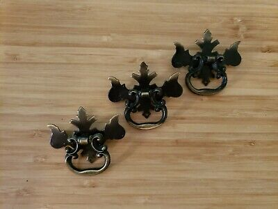 3 Small Antique Brass Chippendale Batwing Drawer Pulls Ring Pulls Handles LOT