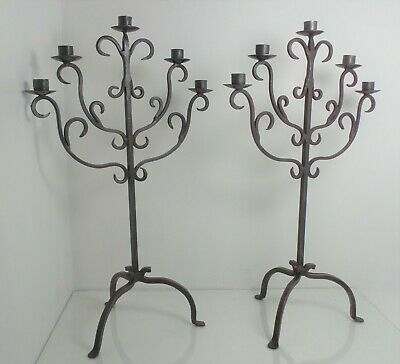 "Ornate Pair Antique Hand Forged Wrought Iron Candlestick Candle Holders 22.5"" H"