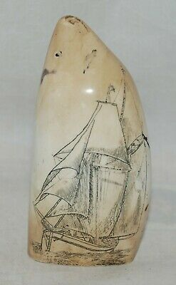 Scrimshaw Faux Resin Carved Sperm Whale Tooth Sailing Ship, Unicorn, Nude Female