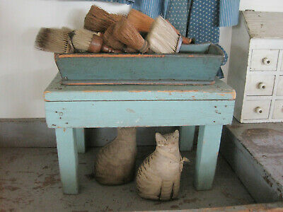 Vintage Primitive  Blue  Paint Wood Stool American Country Find AAFA