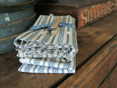 Three  Old Primitive  Pieces of Blue and White Ticking Fabric Textile AAFA