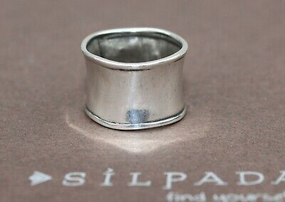 SILPADA Sterling Silver Hammered Cuff Ring Wide Band R0723 Size 10