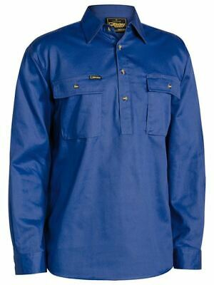 Bisley Workwear Cotton Drill Work Shirt Closed Front Long Sleeve BSC6433 ROYAL