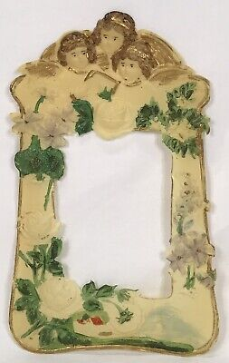 Antique Painted Celluloid Angels Roses Flowers Religious Frame
