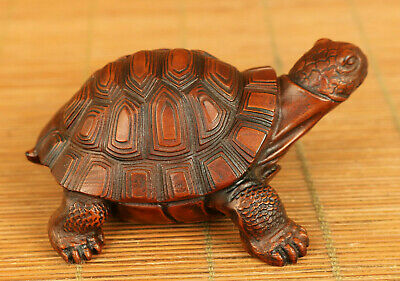 chinese old boxwood hand carved tortoise statue netsuke table decoration gift