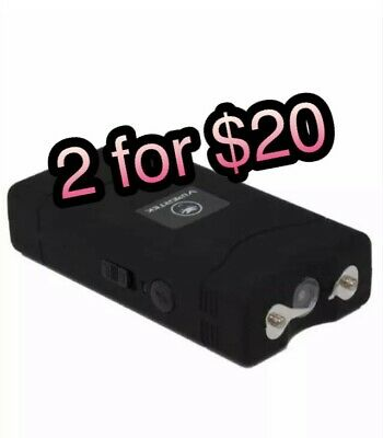 2 Mini Stun Gun Rechargable Led Flashlight Compact New Black Gift 2 Pc New Viper