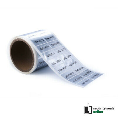 Tamper Evident Security Seal Labels Stickers 40mm x 20mm Silver glossy