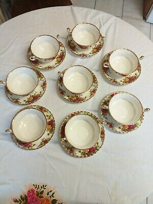 Royal Albert Old Country Roses Set Of 8 Soup Bowls With Saucers