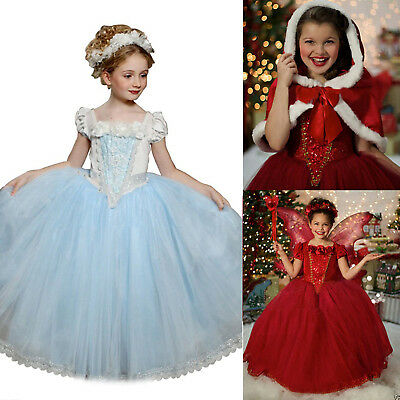 AU Kid Girl Princess Fancy Dress Costume Snow Party Cosplay Long Dress with Cape