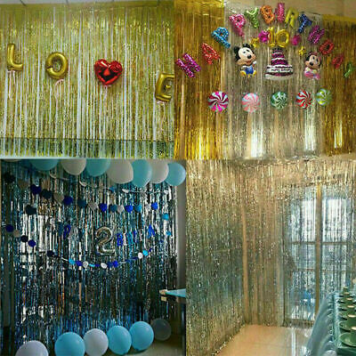 Foil Door Curtain Shimmer Holographic Birthday Party Fringe Garland Decorations