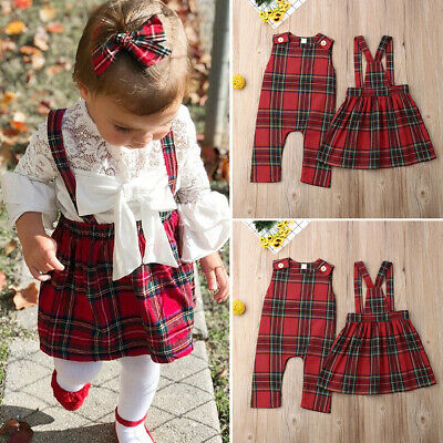 UK Stock Baby Girl Sister Match Christmas Romper Sling Dress Plaid Xmas Outfits