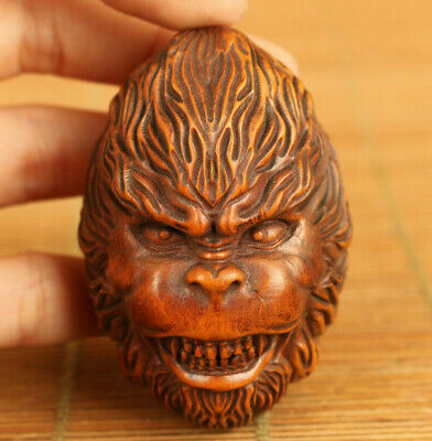 Chinese old boxwood hand carving funny monkey face statue netsuke Hand pieces