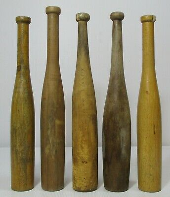 5x Vintage Wooden Juggling Exercise Clubs Indian Exercise Pins Festival Skittles