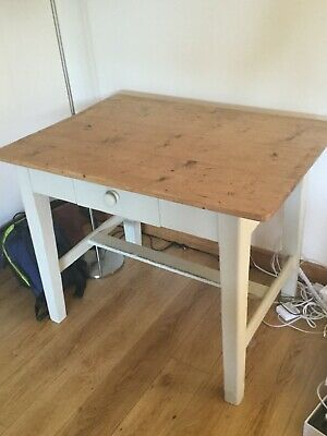 Antique pine desk / table with removable top and painted legs
