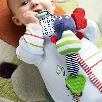 Cute Music Elephant Bell Rattles Baby Seat Hanging Toy Soft Plush Stroller Dolls