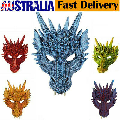 Unisex 3D Dragon Mask Half Face Mask Halloween Costume Party Cosplay Props