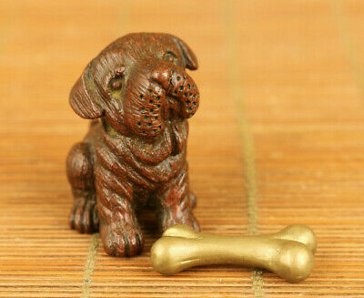 Chinese old red copper hand carved Pekingese statue collectable home decoration
