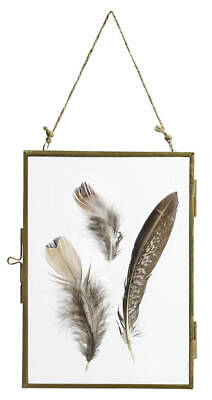 PARLANE Metal & Glass BRASS Double Sided Hanging Photo Picture Frame Vintage