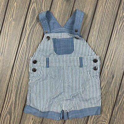 cat & jack 0-3 month baby boy overalls blue white striped button clasp crotch