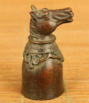 chinese old copper hand carved horse head statue wine glass table decoration
