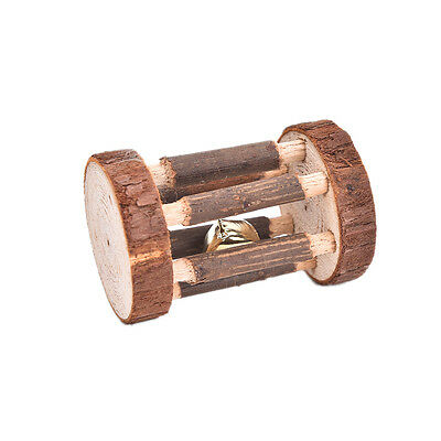 Natural Pine Dumbells Unicycle Bell Roller Chew Toy For Guinea Pig Rat Rabbit RO