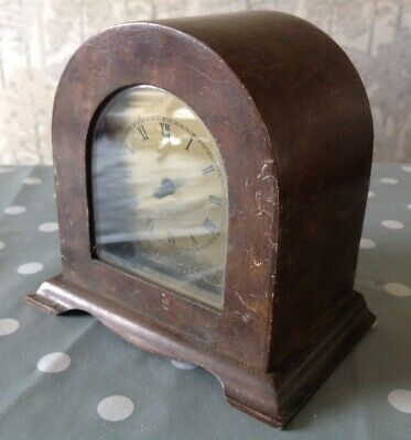 Vintage 8 Day English Mantle Clock Dome Case Brass Face For Repair Restoration