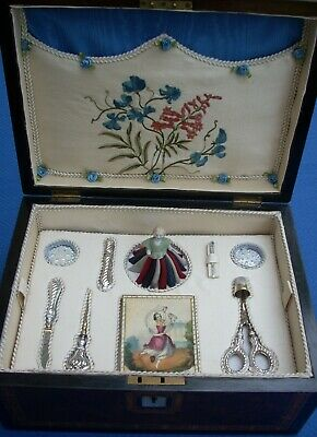 Rare & Unusual 19Th C. French  Palais Royal Sewing Box Fully Complete