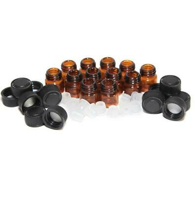 12PC 1ML Amber Essential Oil Bottle with Orifice Reducer And Cap Durable Brown