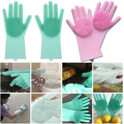 1Pair Magic Reusable Silicone Glove Cleaning Brush Scrubber Glove Heat Resistant