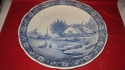 Large Antique Blue & White Porcelain Delft Boch CHARGER  WINDMILL ICE CANAL